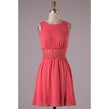 Soirée at Sundown Dress - Coral