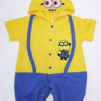 6 months- 2years Party Kids Comic Marvel Despicable Me Halloween Costume,boy Minions roll play clothing/Super milk fa Bodysuits