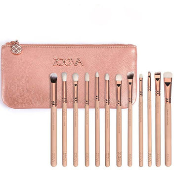 Zoeva 12 Pieces Rose Golden Complete Eye Set Eyeshadow Eyeliner Blending Pencil Makeup Brushes With Case