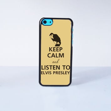 Keep calm and listen to Elvis Presley Plastic Case Cover for Apple iPhone 5C 6 Plus 6 5S 5 4 4s