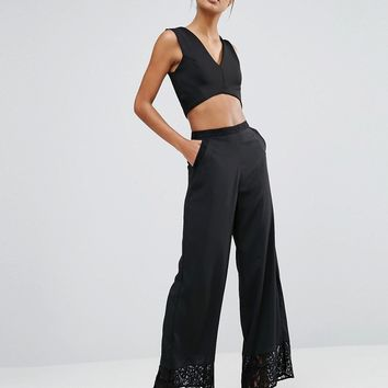 Warehouse Satin & Lace Panelled Wide Leg Trouser