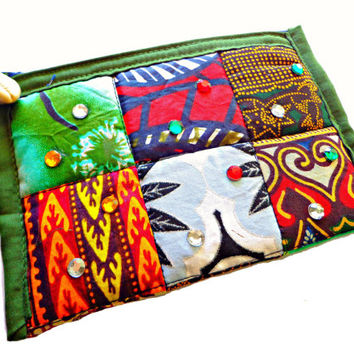African Print Make-Up Case, Wristlet, Ethnic Coin Purse, Kente Print Pouch, Ankara Quilted Accessory Bag, Mobile Phone Carrier