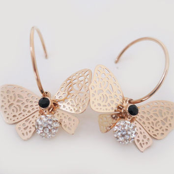 Rose Gold Butterfly Earrings, Gold Butterfly Wing Dangle Earrings | LaLaMooD