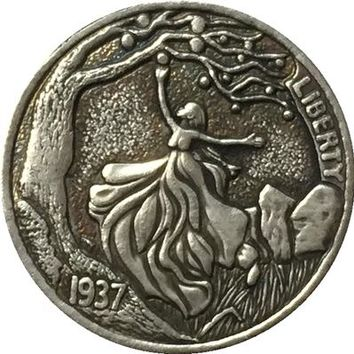 GIRL PICKING APPLES Hobo Nickel 1937-D 3 LEGGED BUFFALO NICKEL RARE