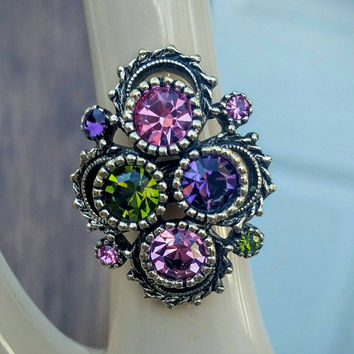 Art Deco Sarah Coventry Filigree Style Ring with Amythest, Peridot and Pink Tourmaline colored Stones