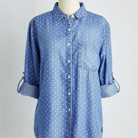 Mid-length Long Sleeve Chambray Ole Top