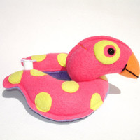 Stuffed duck pool toy with polk dots