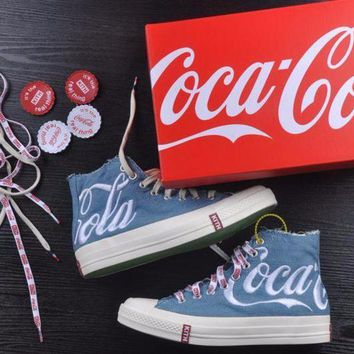 ONETOW Best Onlie Sale KITH x Coca Cola x Converse Chuck Taylor All Star 1970s High 70 Sneakers Blue