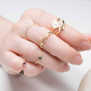TOMTOSH 5PCS /Set Ring Charm Pink Crystal artificial Stone Geometric Triangular Tree Rattan Simple Ring For Women
