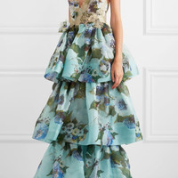 Marchesa - Tiered floral-print silk-organza and appliquéd lace gown