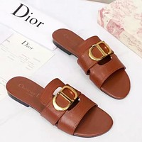 Dior New Fashion Solid Color Leather Shoes Flip Flop Slippers Brown