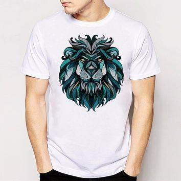 Hot sales Newest Fashion Male Boy Man Summer t-shirt Lion print Casual t-shirt Casual Cool Tee Tee Tops
