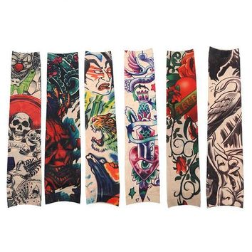 ac ICIKO2Q 6pcs/Set Funny Pattern Tattoo Sleeve Anti-Sun Temporary Tattoo Sleeves Sticker Men Tattoo Accessories