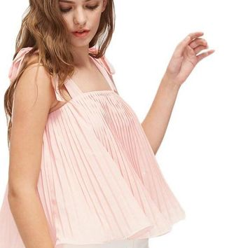 Pleated Trapeze Tops Cute Ladies Pink Self Tie Shoulder Sweet Tops Women Sexy Ruffle Holiday
