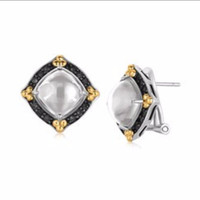 Fancy Rock Crystal Cabochon Earrings with Black Sapphires in 18K Yellow Gold and Sterling Silver