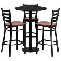 30'' Round Black Laminate Table Set with Ladder Back Metal Bar Stool and Cherry Wood Seat, Seats 3