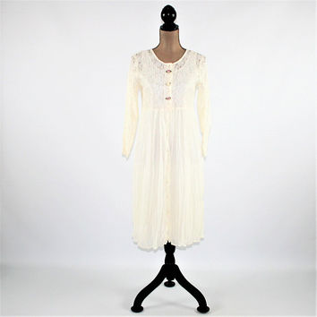 90s White Dress Lace Button Up Dress Romantic Boho Dress Grunge Long Sleeve Dress Women Small Junior Size 16 Vintage Clothing Women Clothing