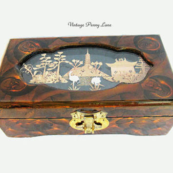 Chinese Lacquer Jewelry Box, Cork Sculpture Lid