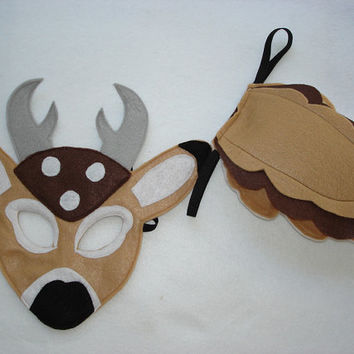 Children's Woodland Animal DEER Felt Mask and Tail Set