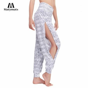Matymats Sexy Yoga Pants Harem Yoga, Dance High Waist Full Length Women Yoga Chic Pants With Side Slit Detail