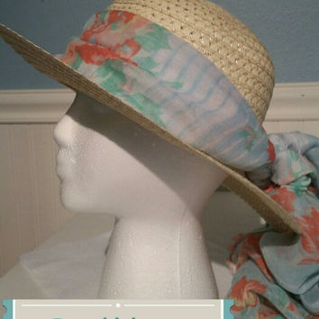 Sun hat with floral hat scarf peach, blue and green white stripes woven beach hat Easter Bonnet Free ship US gift for her straw ribbon