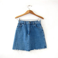 Vintage denim skirt. Mini jean skirt. Cut off jean skirt. High waist denim skirt. Small
