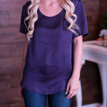Khloe Satin Top - Eggplant - Medium or Large only