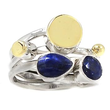Sapphire Sterling Silver Two Tone Ring