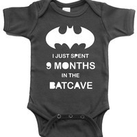 BATMAN BABY ONE PIECE I JUST SPENT 9 MONTHS IN THE BATCAVE CREEPER ROMPER