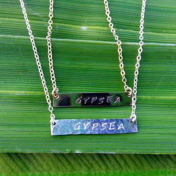 Gypsea Bar Necklace, Metal Stamped, Sterling Bar, 14K Gold Bar, Gypsy