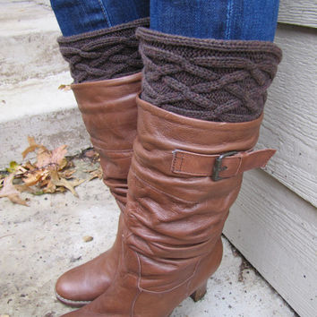 Boot Socks-Buy 2 get 1 FREE-Boot Cuffs-Boot Topper-Boot Sock- Chocolate Brown Cable Knit -Full sock included
