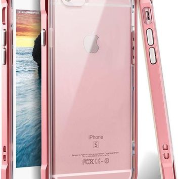 ONETOW iPhone 6 Case, iPhone 6s Case, Ansiwee Reinforced PC Frame Crystal Durable Shock-Absorption Flexible Soft Rubber TPU Bumper Hybrid Protective Case for Apple iPhone 6/6s 4.7inch (Rose Gold)