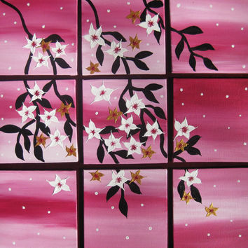 pink cherry blossom tree of life art painting Japanese sakura branch and leaves small white blossoms set of paintings on canvases small art