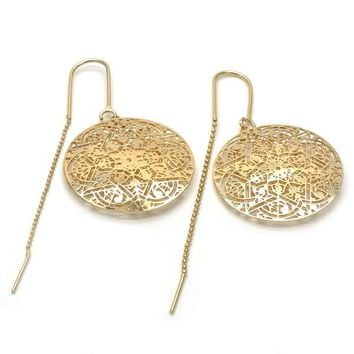 Gold Layered 02.32.0538 Threader Earring, Star and Filigree Design, Polished Finish, Golden Tone