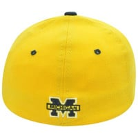Michigan Wolverines Flex Fit SM Zephyr Curved Bill Small Stretch Yellow Hat Cap
