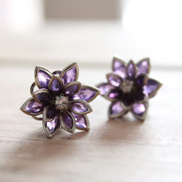 Plugs Size 4g 2g 0g 00g and UP Vintage Inspired Purple Flowers w Rhinestones Custom Gauges for Size 4 2 0 00 Wedding Bridal Bridesmaids