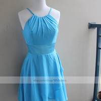 Custom Made Halter Keyhole Back Blue Bridesmaid Dress/ Cocktail Dress/ Wedding Party Dress/ Short Prom Dress/ Homecoming Dress