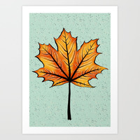 Yellow Orange Autumn Leaf On Blue | Decorative Botanical Art Art Print by borianagiormova