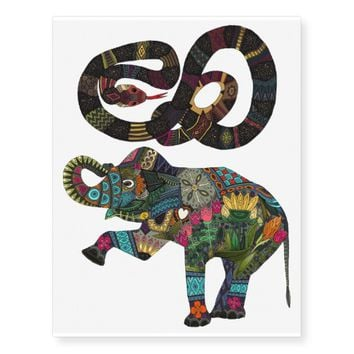 Geo Snake and Asian Elephant Temporary Tattoos
