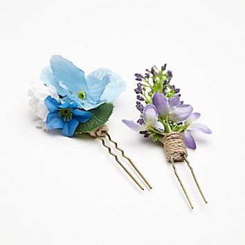 Free People Womens 2 Pack Floral Hair Picks - Blue / Purple, One