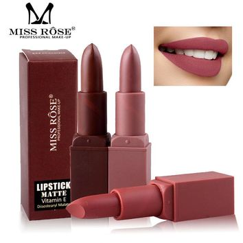 Miss Rose Professional Matte Lips Makeup Kiss proof lipstick Batom Pencil Brown Lip Stick Nude Red Velvet Lipsticks Cosmetics