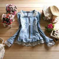 2015 Spring Fashion Jackets Women Outerwear Slim Lace Patchwork Denim Jacket Lady Vintage Jeans Jacket Beading Collar Coat = 1930274820