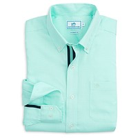 Seafaring Micro Gingham Sport Shirt in Offshore Green by Southern Tide - FINAL SALE