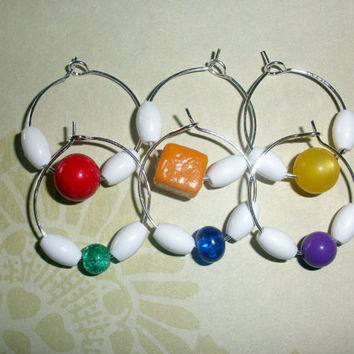 Set of 6 wine charms markers Choose from Rainbow Wire Wrapped Natural beaded gift