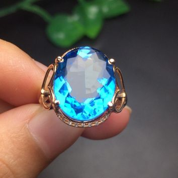Fine Jewelry Customize Size Real 18K Rose Gold AU750 Jewellery 100% Natural Blue Topaz Gemstone Female Rings for Women Fine Ring