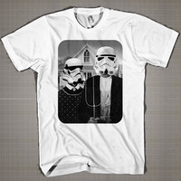 STAR WARS AMERICAN GOTHIC  Mens and Women T-Shirt Available Color Black And White