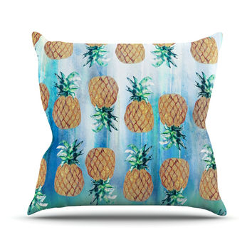 "Nikki Strange ""Pineapple Beach"" Blue Brown Throw Pillow"
