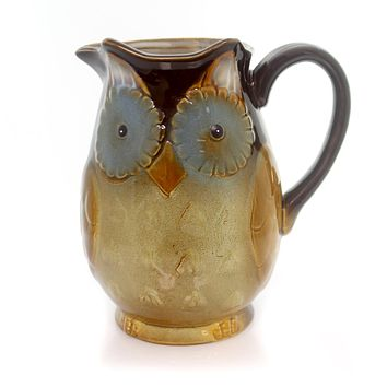 Tabletop OWL PITCHER Ceramic Bird Wisdom 9720387