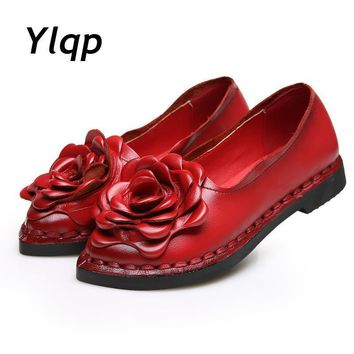 2017 New Vintage Handmade Folk Style Women Flats Casual Shoes Genuine Leather Lady Sof