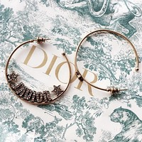 Dior Fashion new letter star round circle long earring women accessory